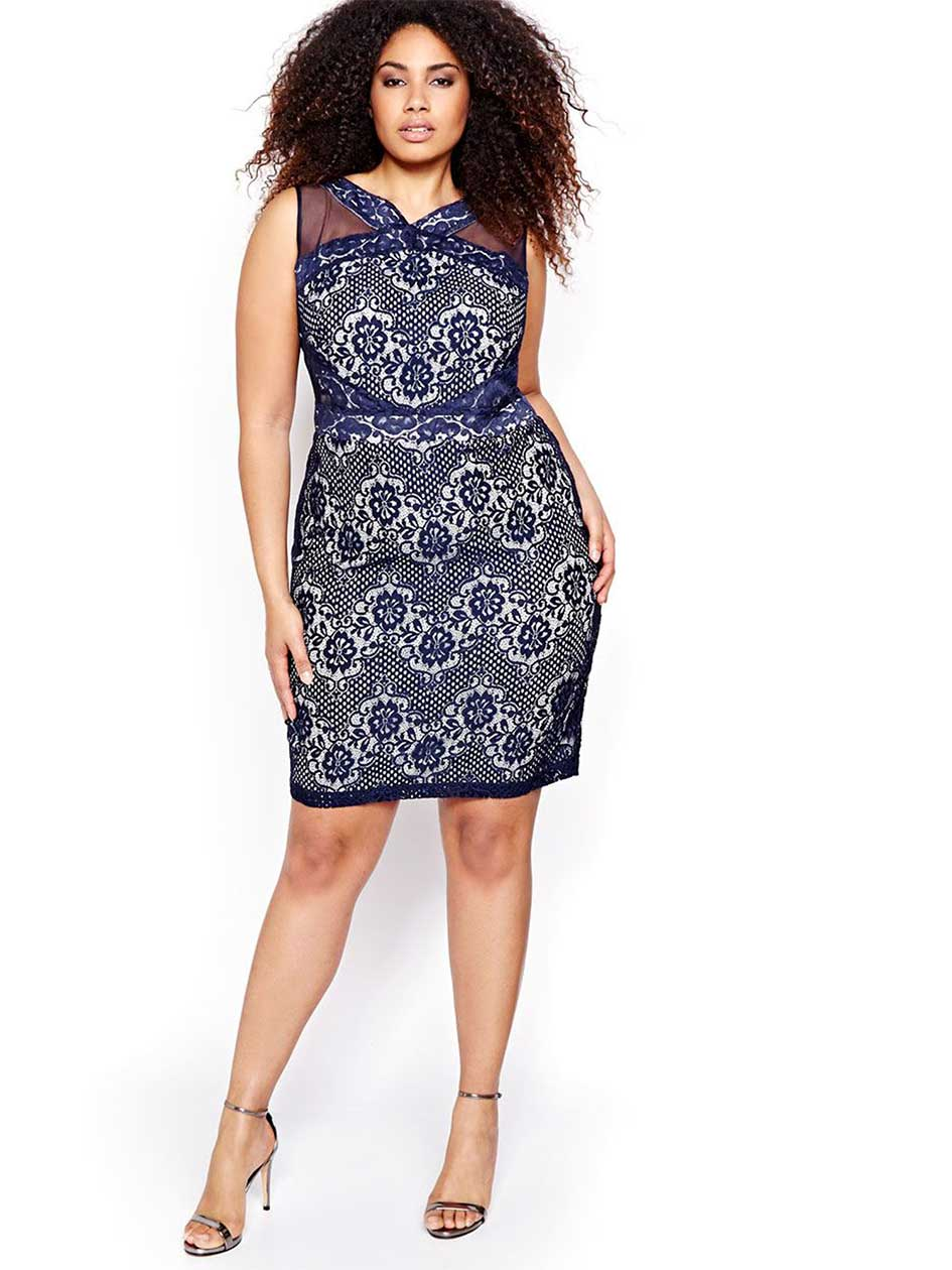 Allover Lace Midi Dress with Mesh Inserts