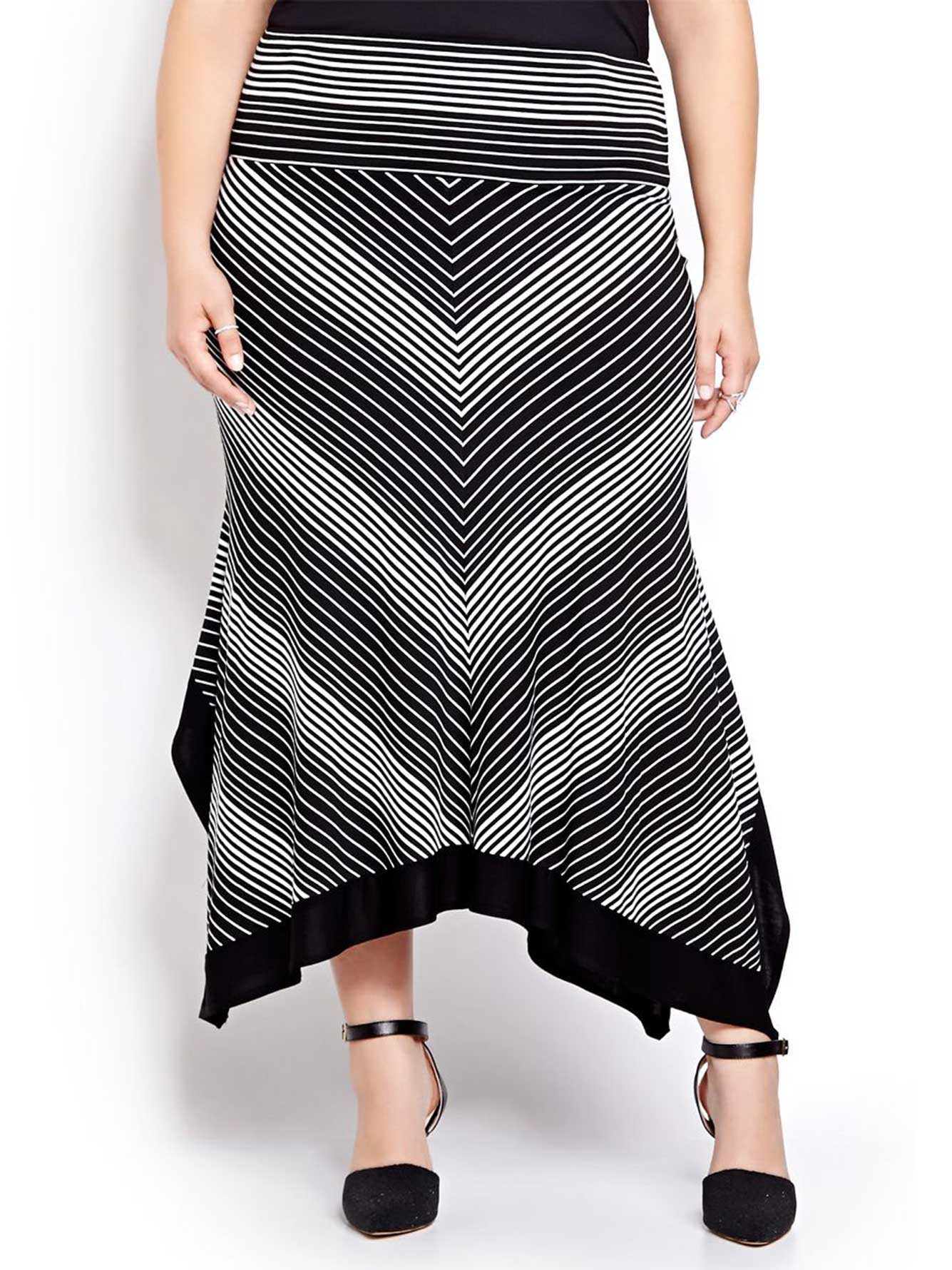 asymmetric striped maxi skirt addition