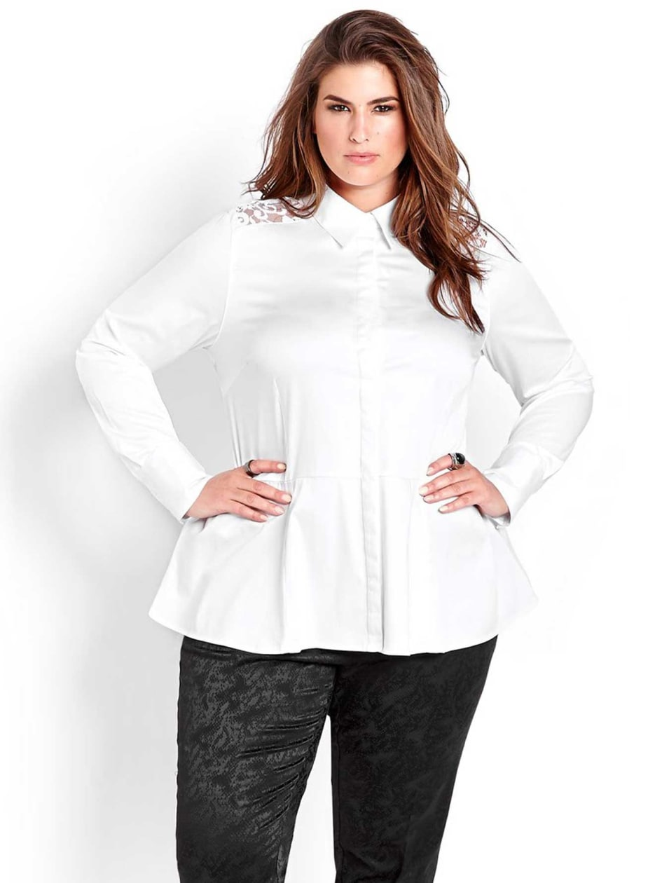 Michel Studio Long Sleeve Peplum Blouse