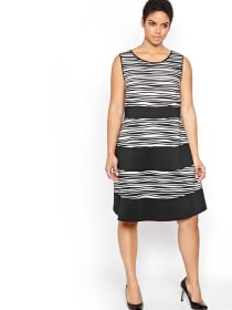 Michel Studio Fit & Flare Textured Dress