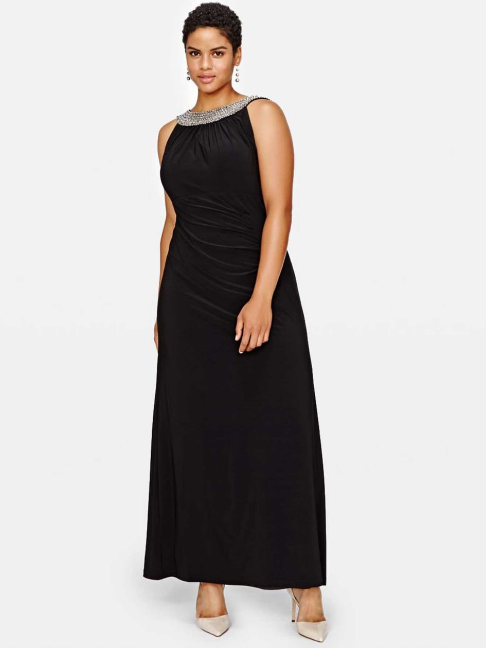 Scarlet Maxi Dress with Embellished Neckline