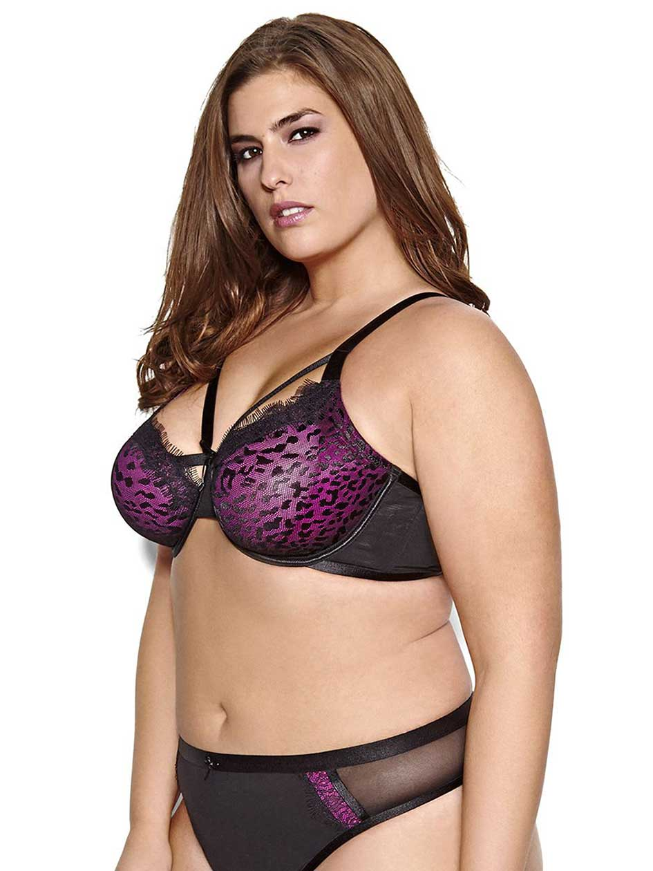 Soutien-gorge Attraction Fatale non coussiné à imprimé animal Ashley Graham, tailles G et H