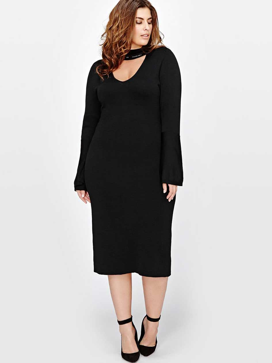 Rachel Roy Sweater Dress With Beaded Neck