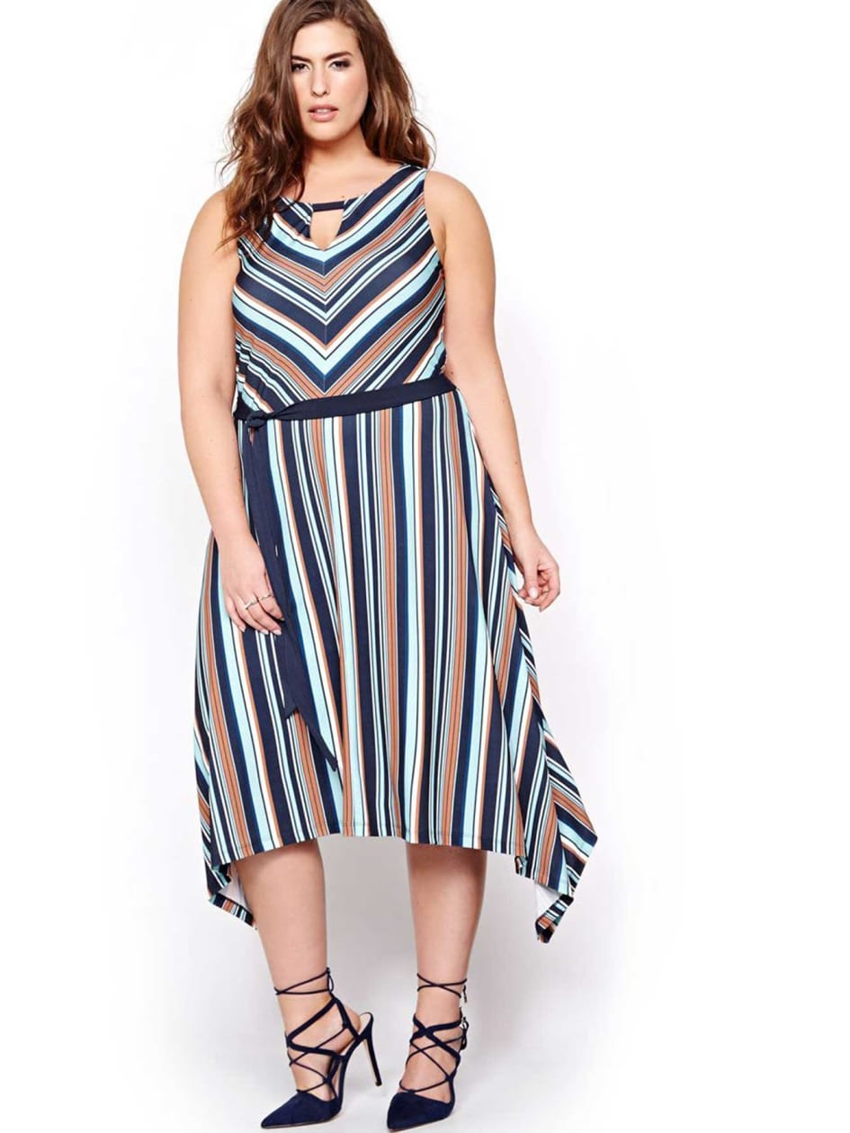 Michel Studio Striped Hankerchief Dress