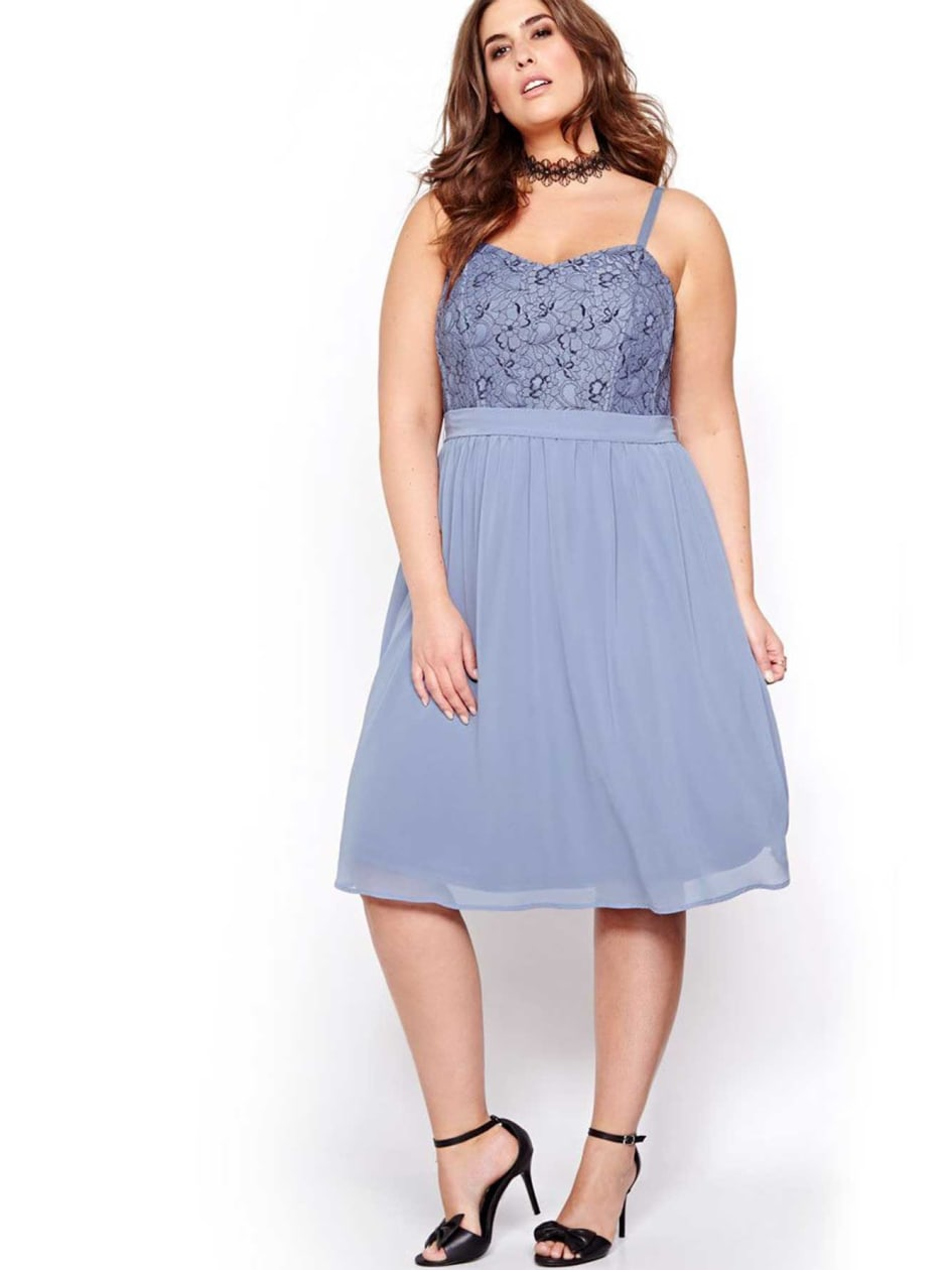Michel Studio Two-Toned Lace Dress.Blue Jewel plaid.26
