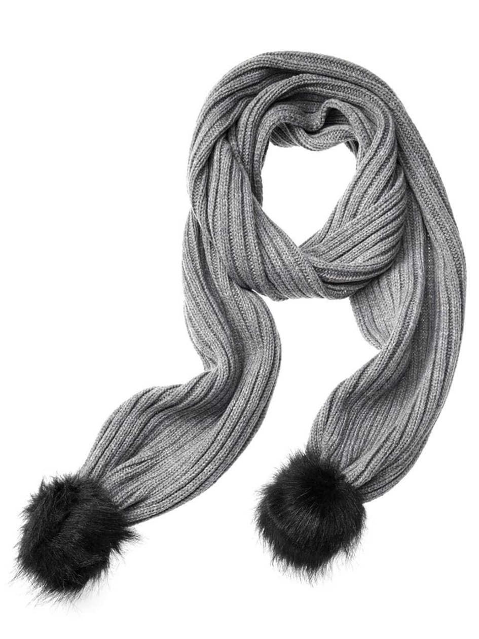 Ribbed Scarf with Faux Fur Pompom