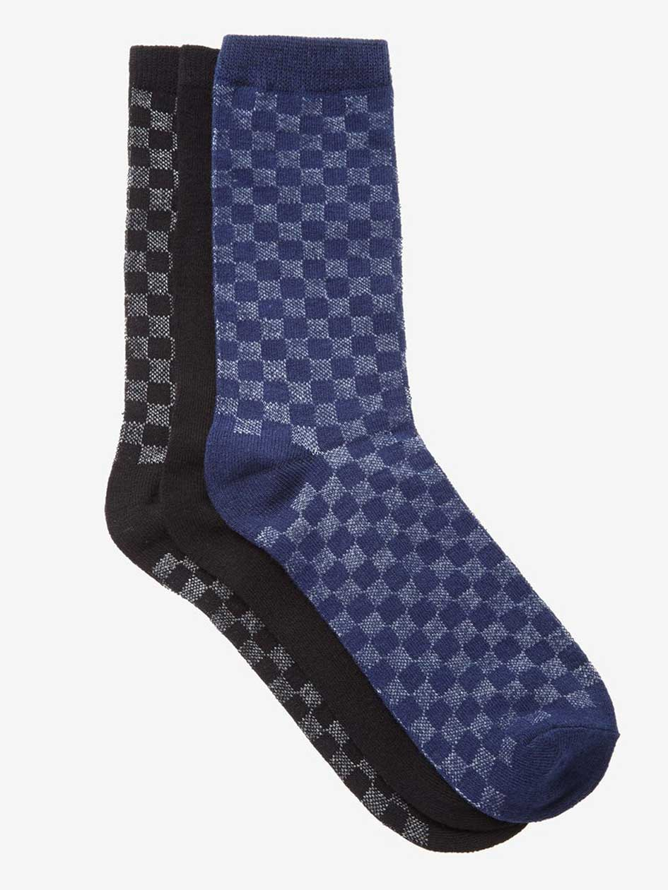 Check Patterned Socks Trio