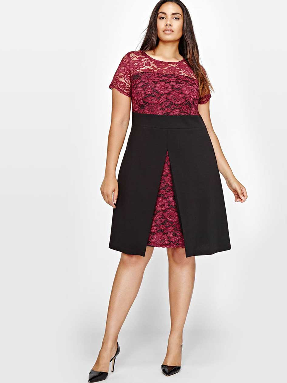 Michel Studio Lace Dress with superposition