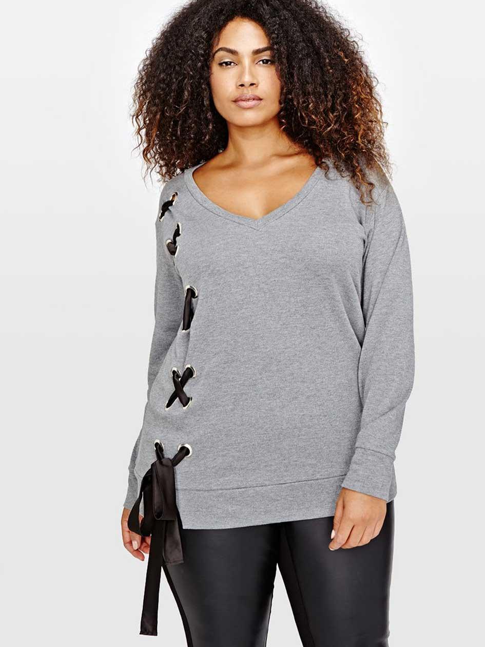 L&L V-Neck Side Lace-Up Sweatshirt