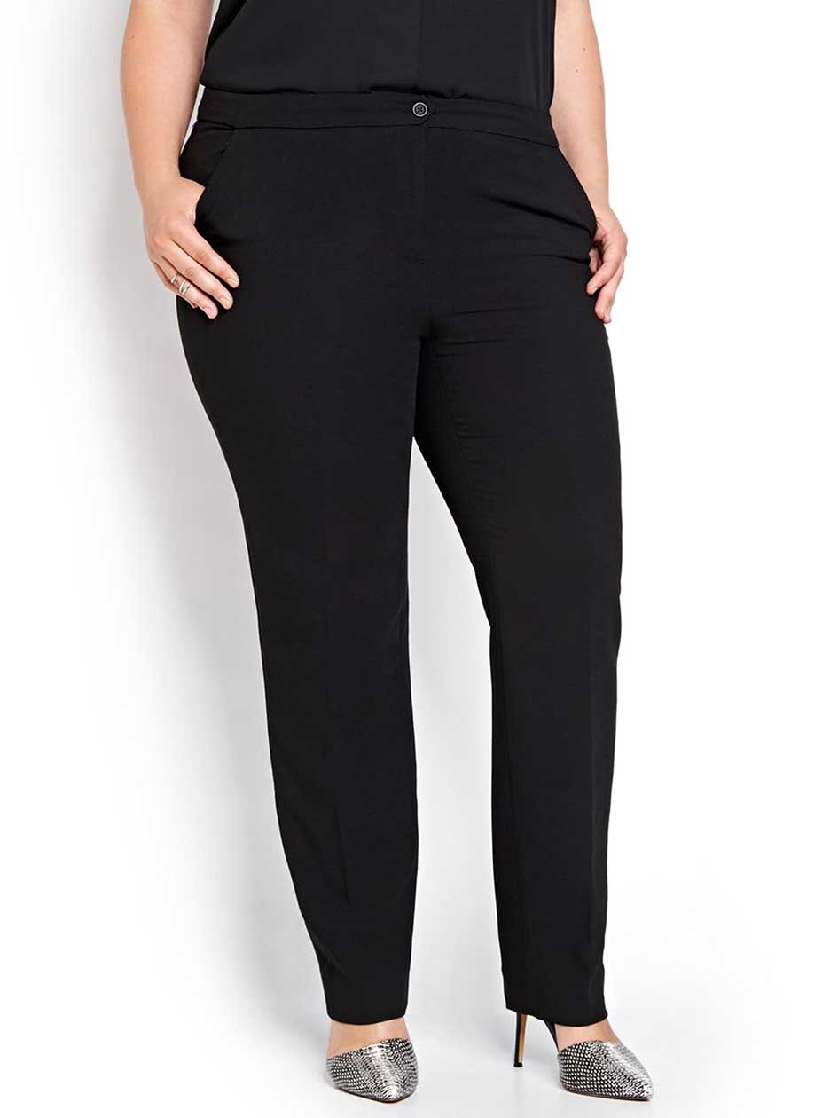 Slim Leg Pant with Crepe Fabric and Piping Details