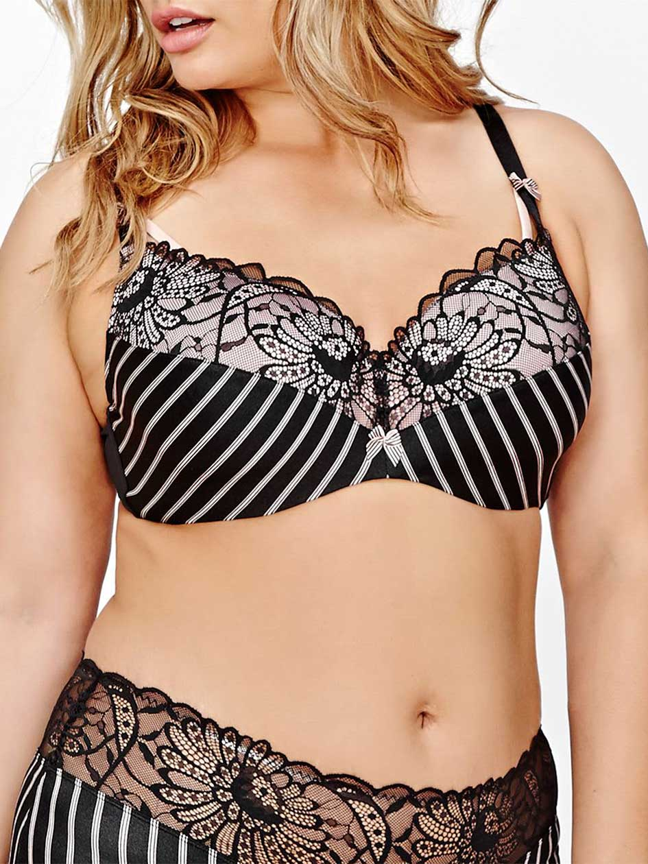 Contour Flirt Bra with Stripes and Lace Sizes G & H -Déesse Collection