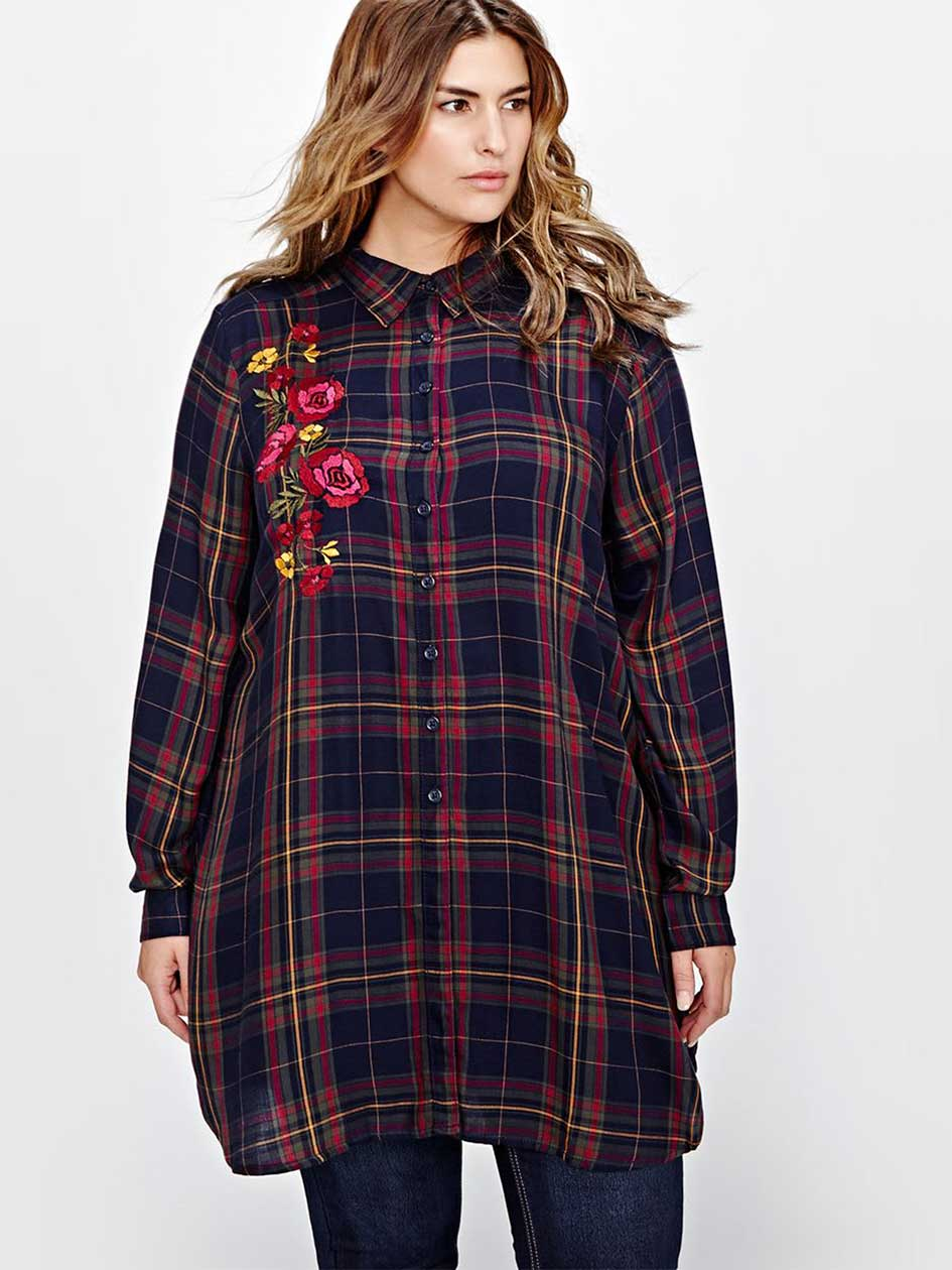 L&L Plaid Embroidered Tunic