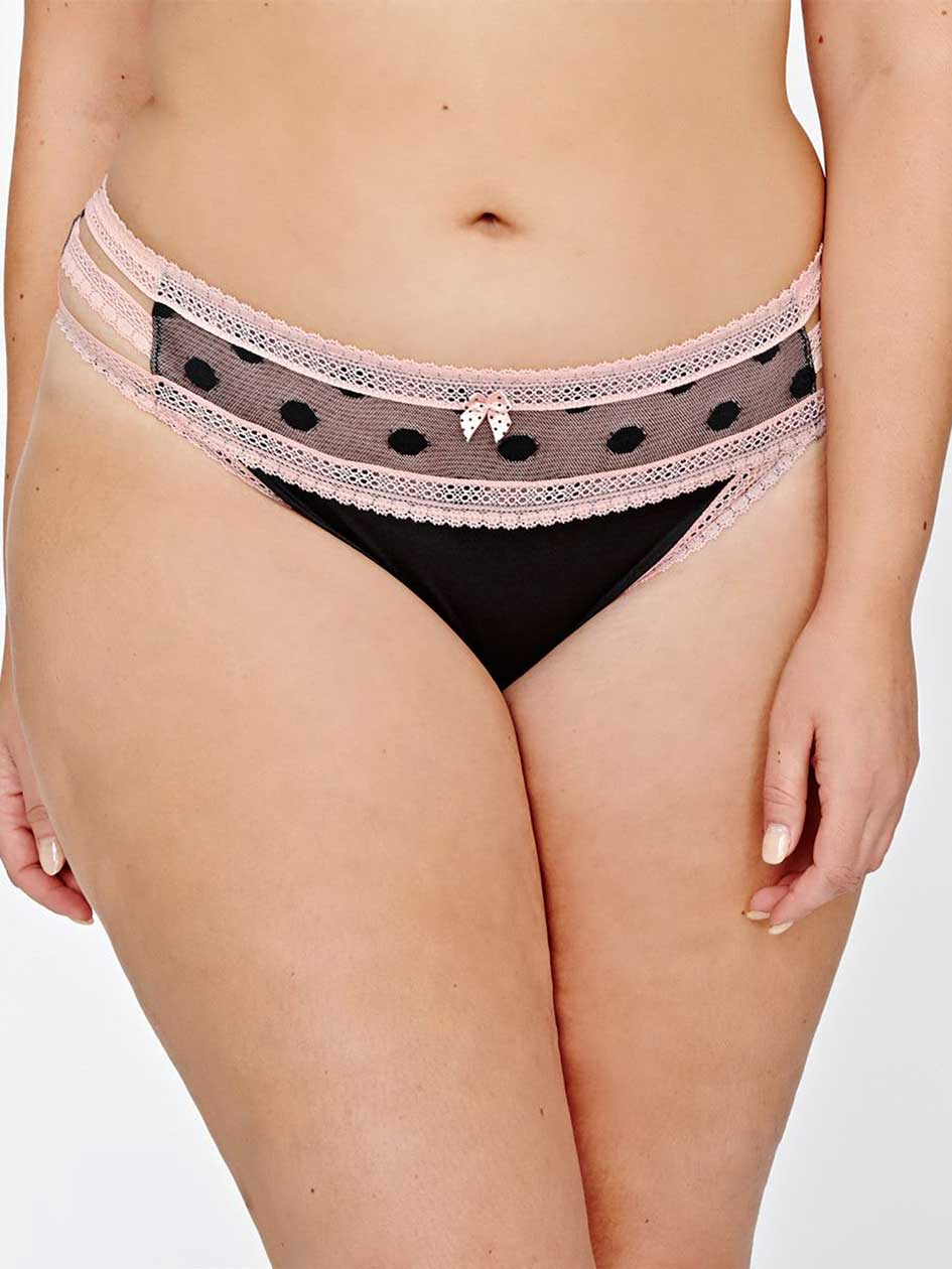 Thong Panty with Polka Dots and Lace - Déesse Collection