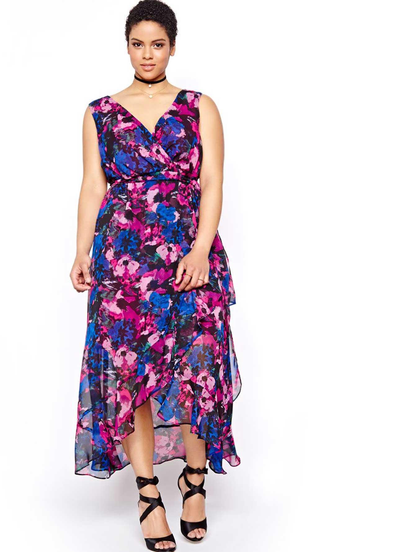 Michel Studio Long Printed Cross-over Dress | Addition Elle