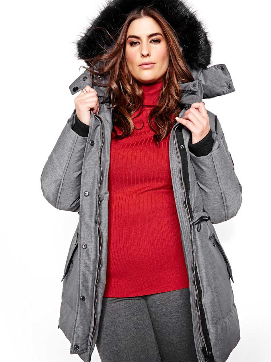 Livik down jacket with faux fur hood