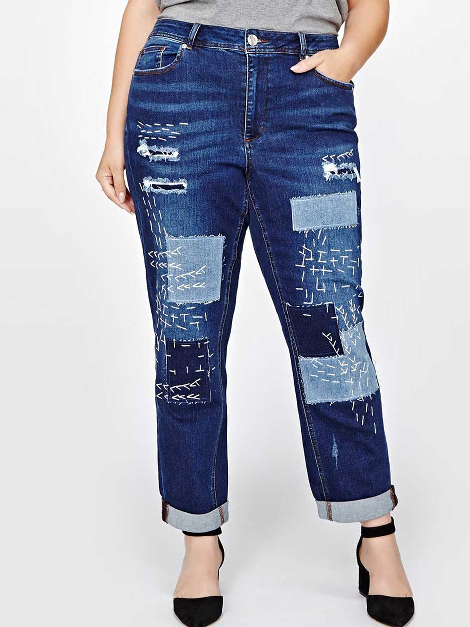 L&L Ripped & Patched Boyfriend Jeans