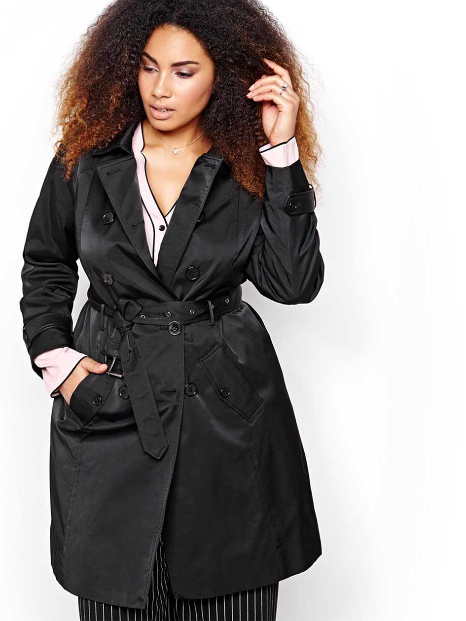 Michel Studio Trench Coat with Faux Leather Trims