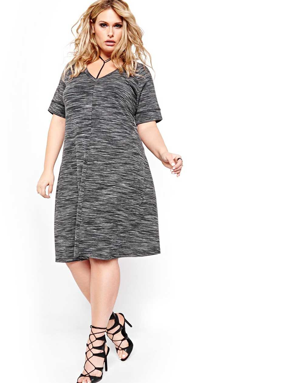 L&L V Neck Swing Dress with Short Sleeves