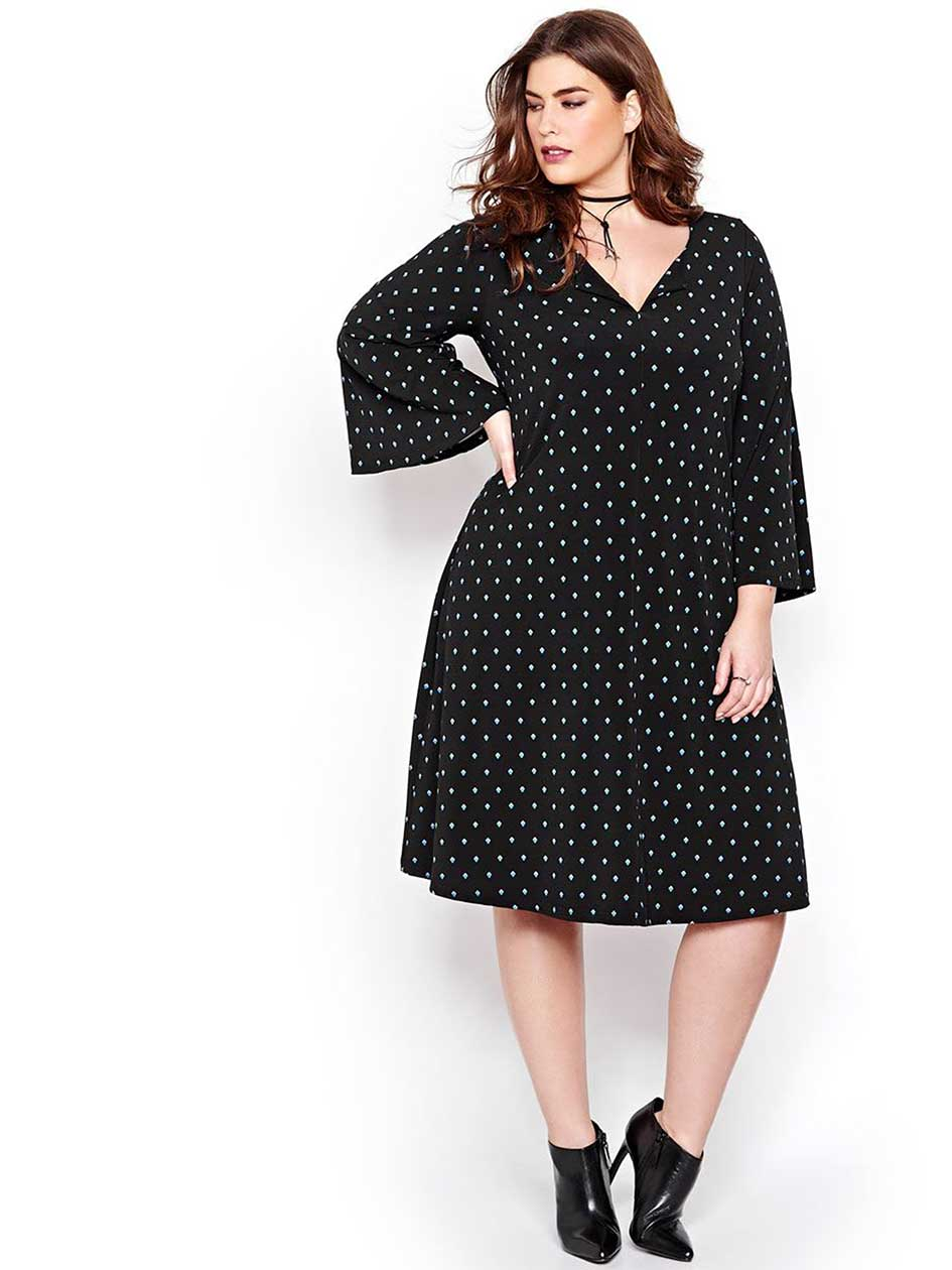 Michel Studio Bell Sleeved Swing Dress