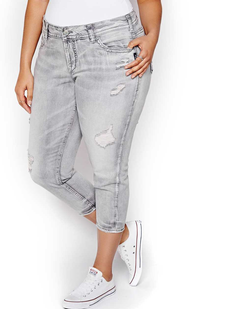 Silver Elyse Cropped Skinny Jeans