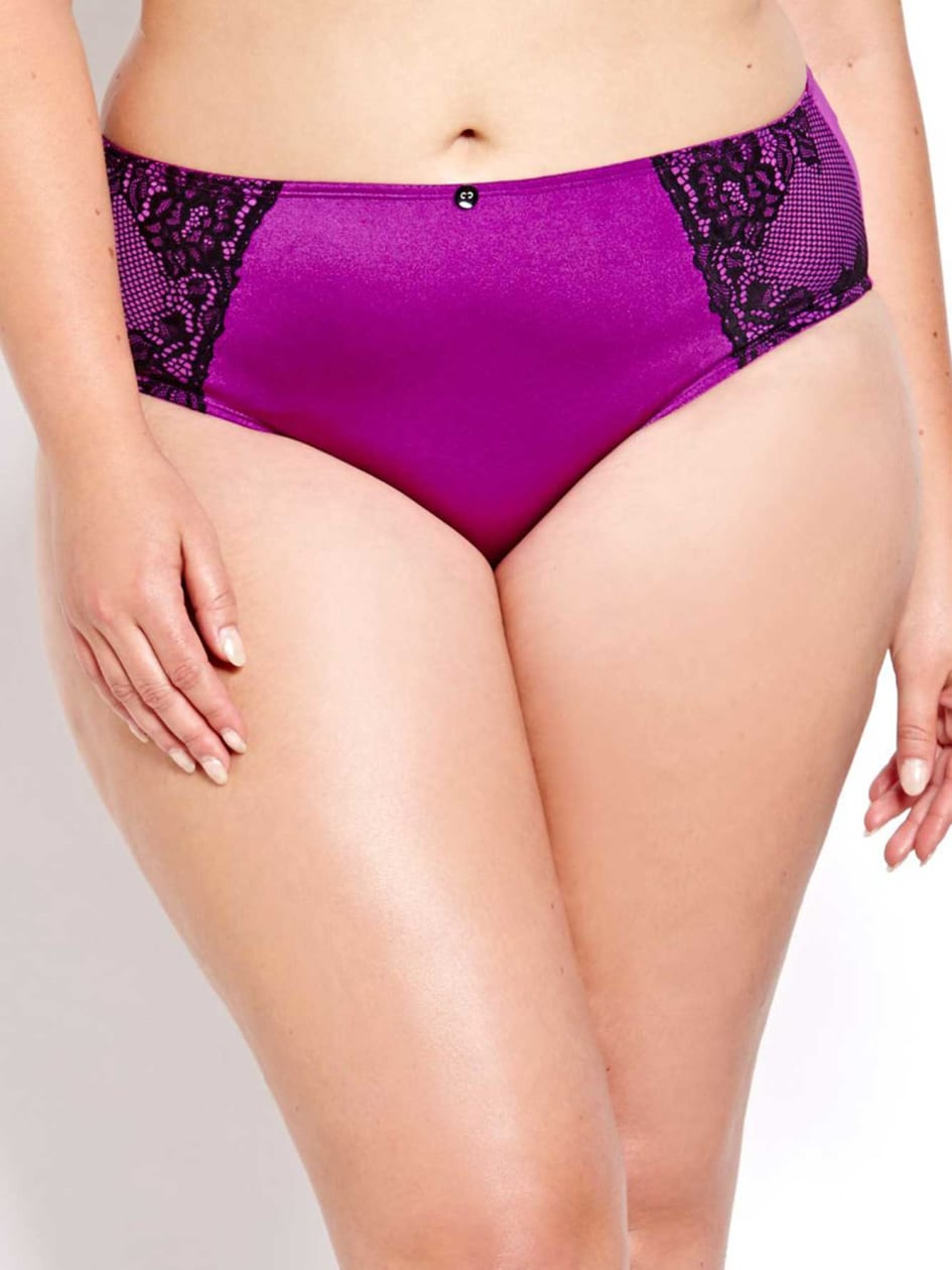 High Cut Mesh Panty with Lace - Déesse Collection