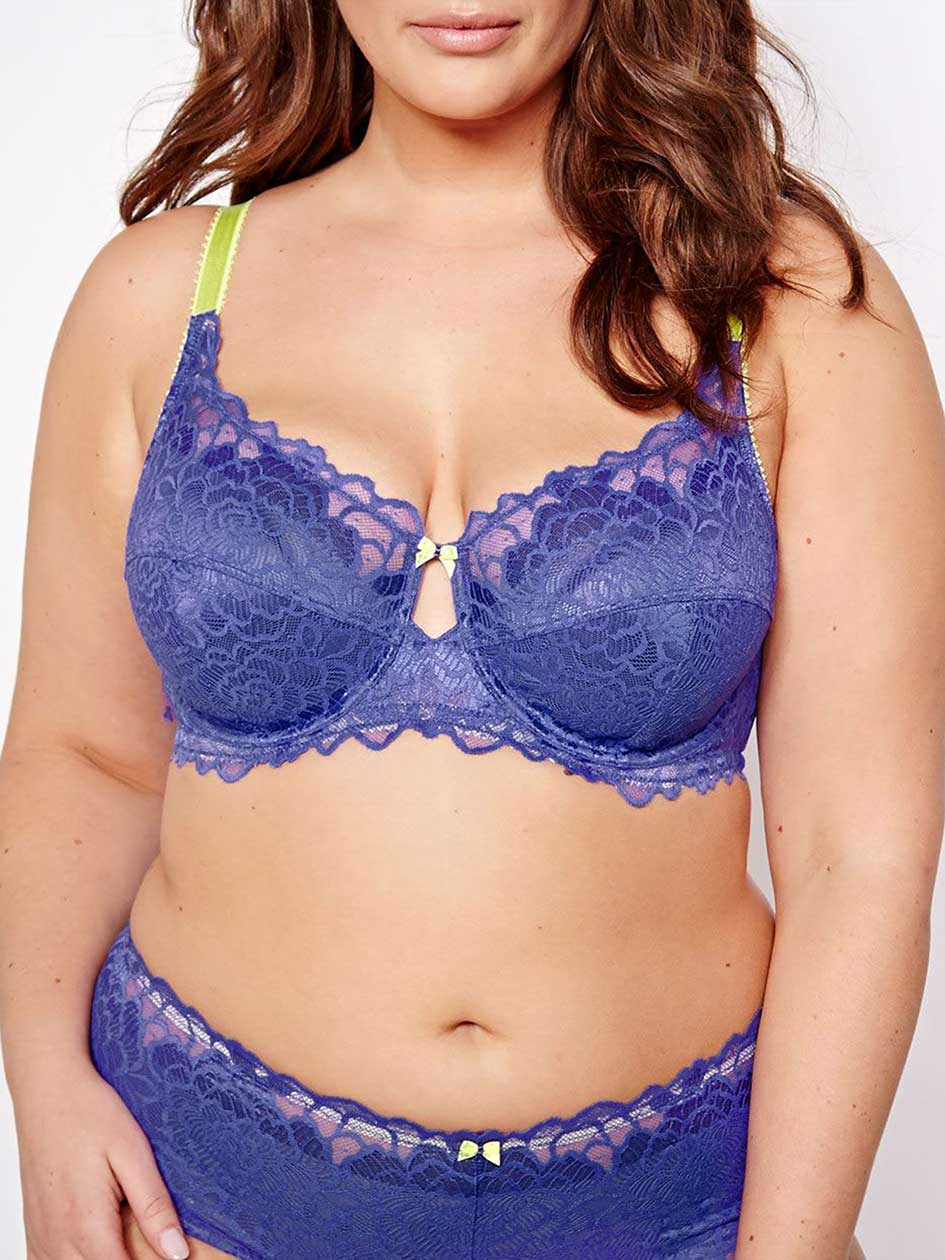 Femme Couture Bra with Lime Straps, Sizes G & H - Déesse Collection