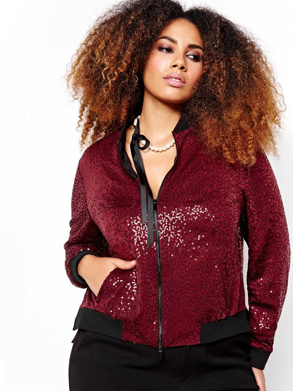 Rachel Roy Sequined Bomber Jacket