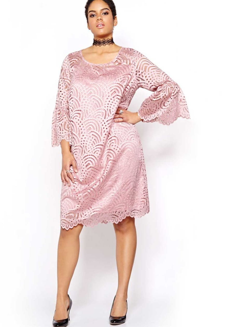 Michel Studio Lace Dress with Bell Sleeves