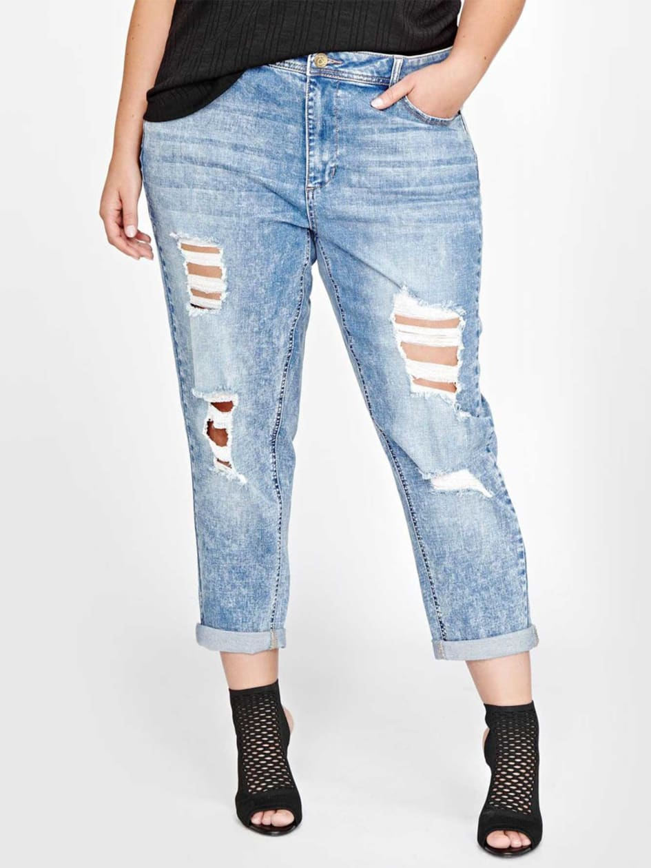 L&L Destroyed Rolled-Up Boyfriend Jean