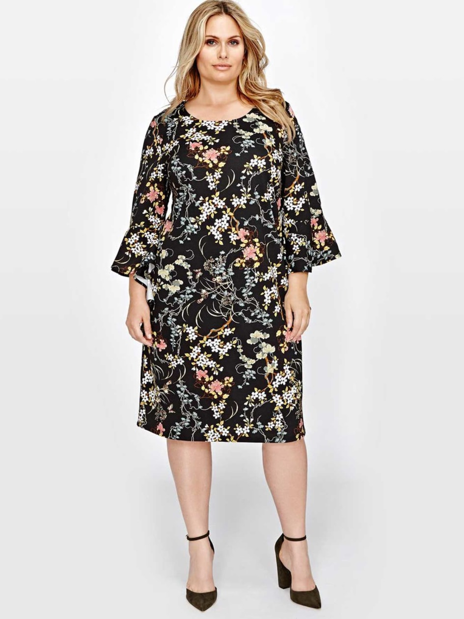Michel Studio Ruffle Sleeve Dress