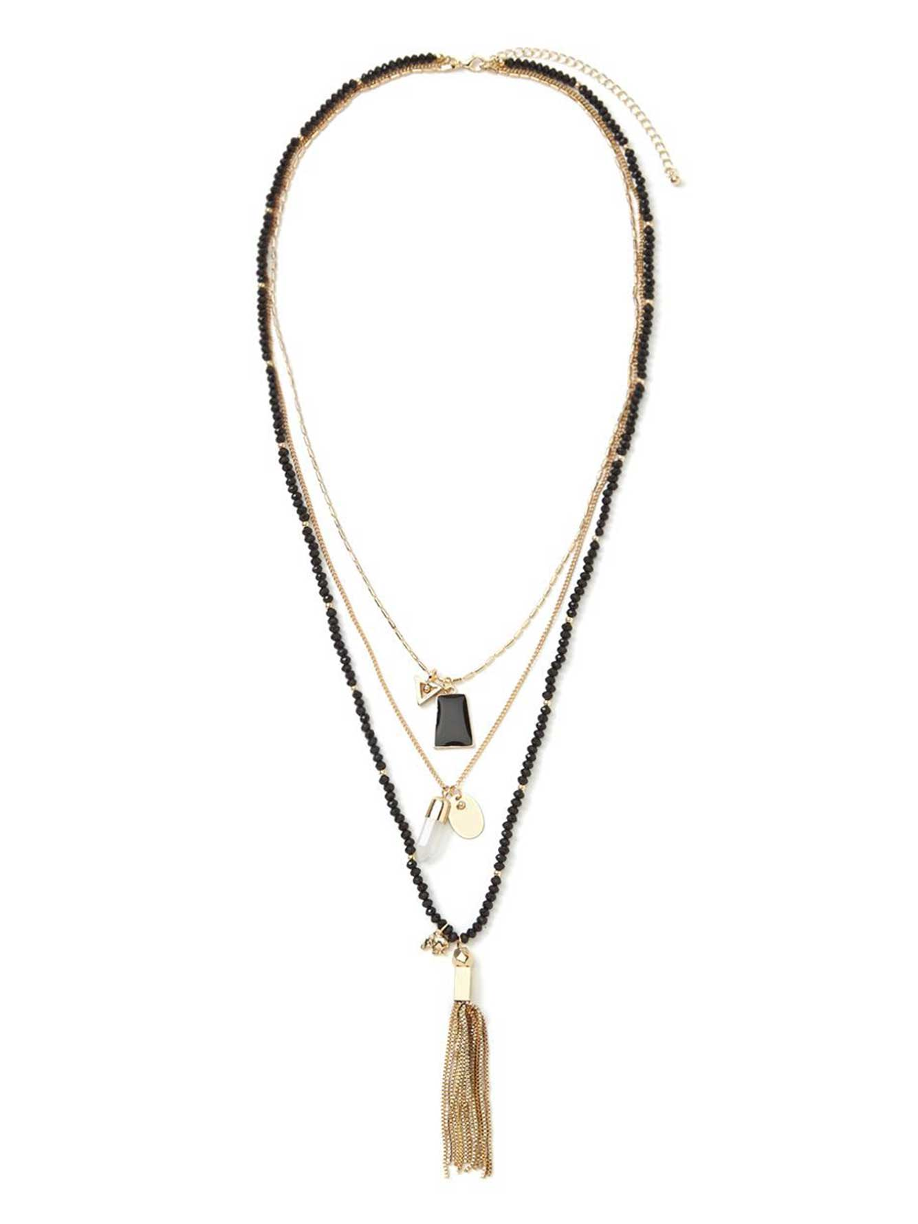 long layered necklace with beads charms addition elle. Black Bedroom Furniture Sets. Home Design Ideas