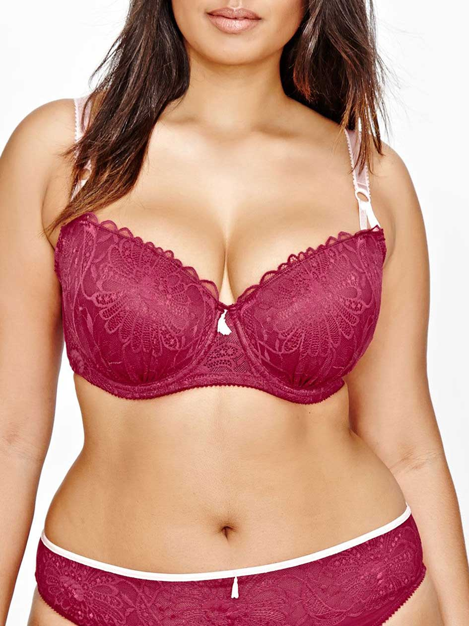 Burgundy Balconet Bra with Mesh & Solid Lace Detail - Déesse Collection