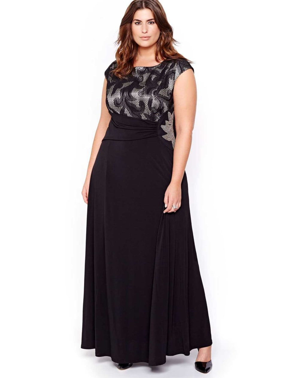 Evening Gown with Contrasting Lace