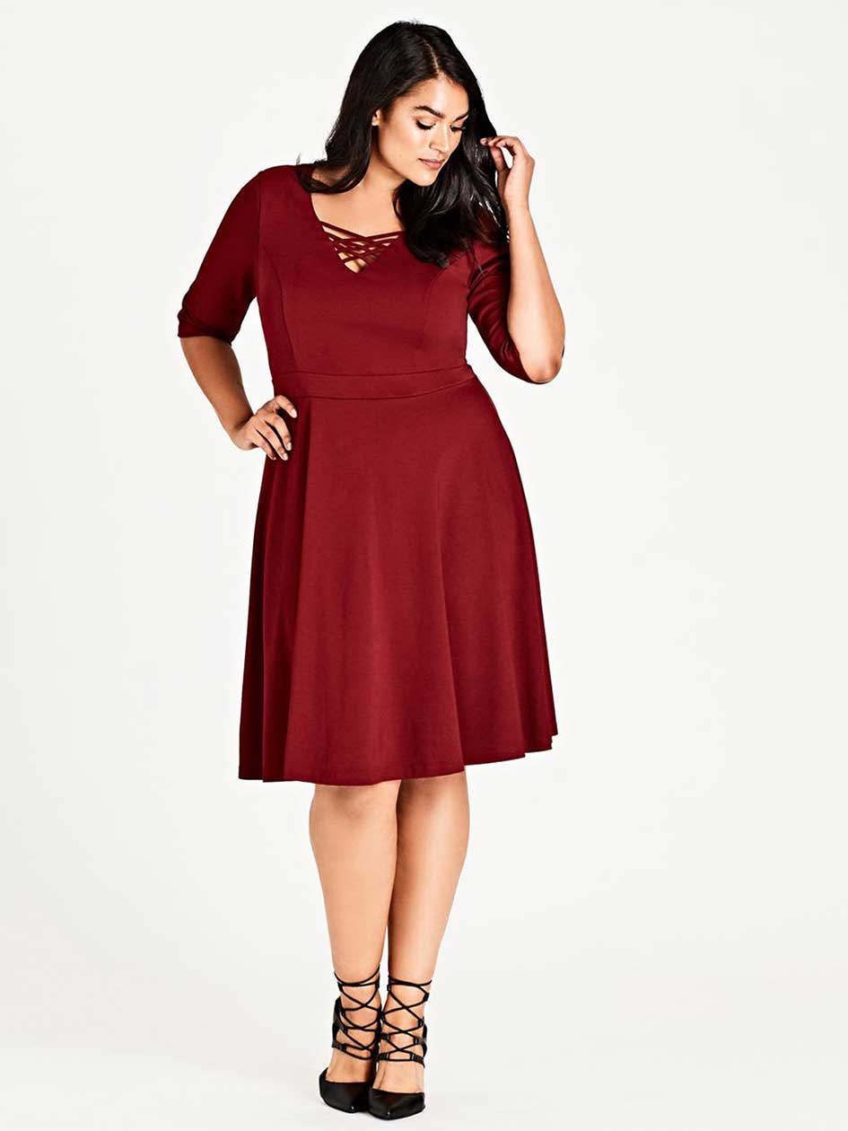 City Chic X Front Skater Dress