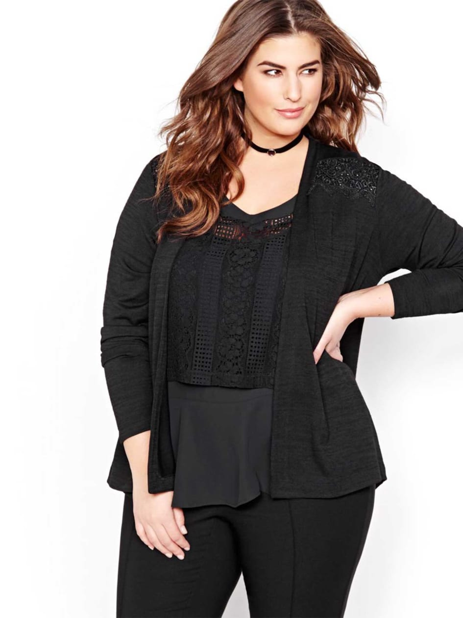 Michel Studio High Low Cardigan.black.2X