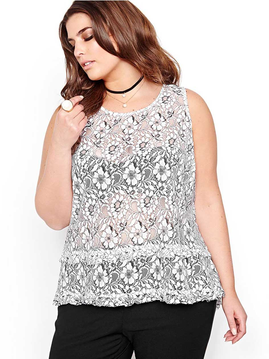 Michel Studio Sleeveless Lace Blouse