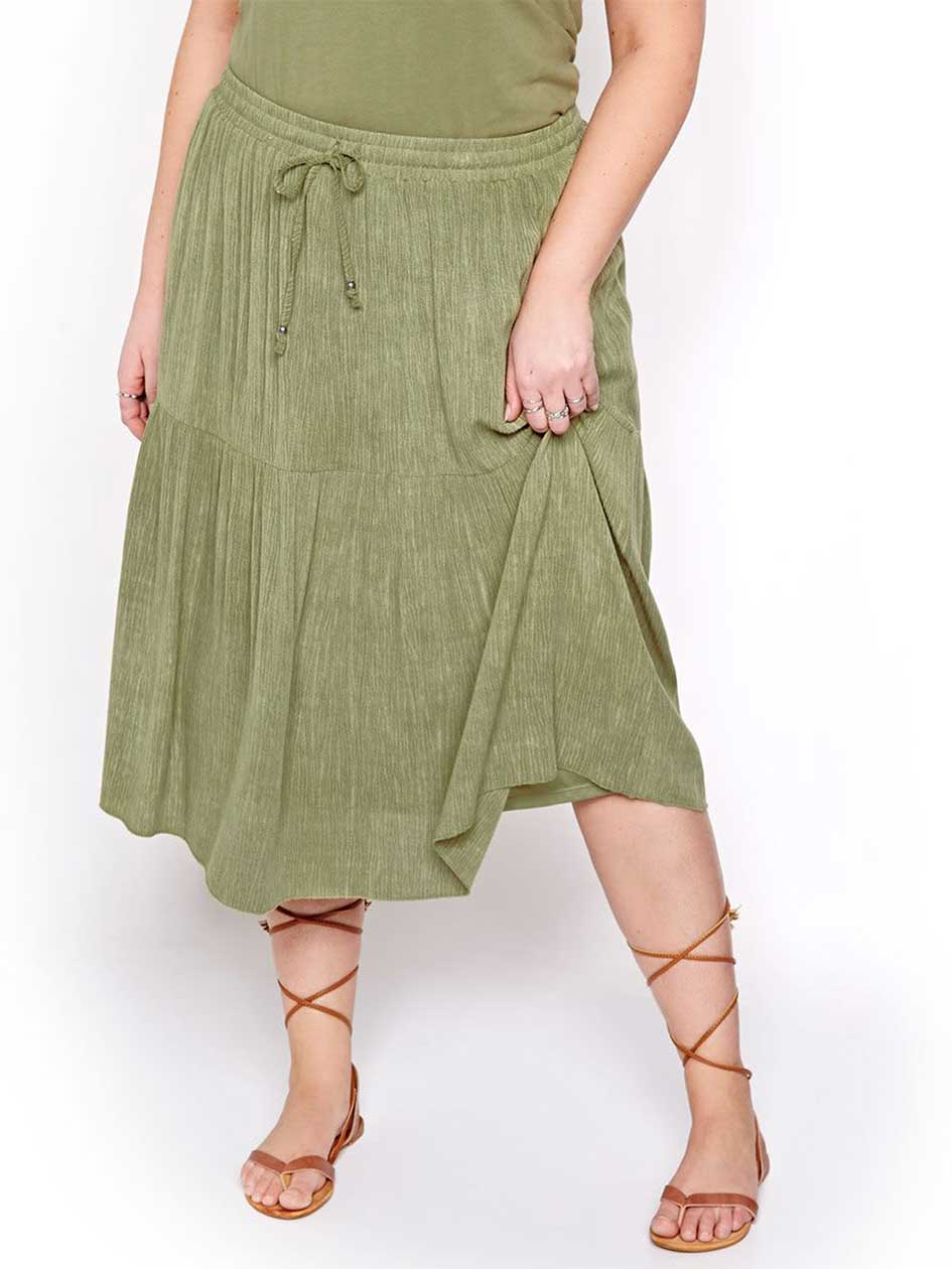 L&L Solid Peasant Midi Skirt