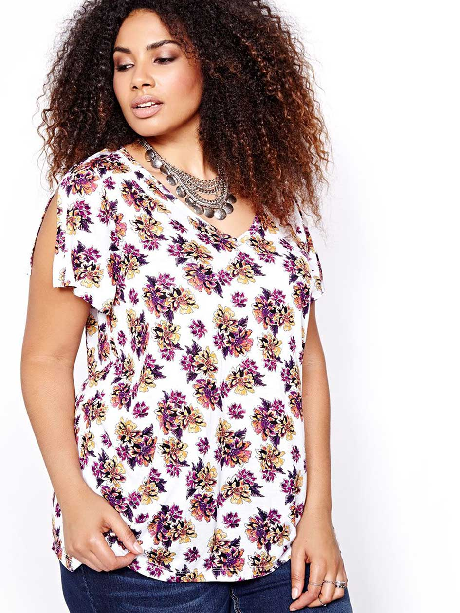 L&L Printed Open Back Split Sleeve Top