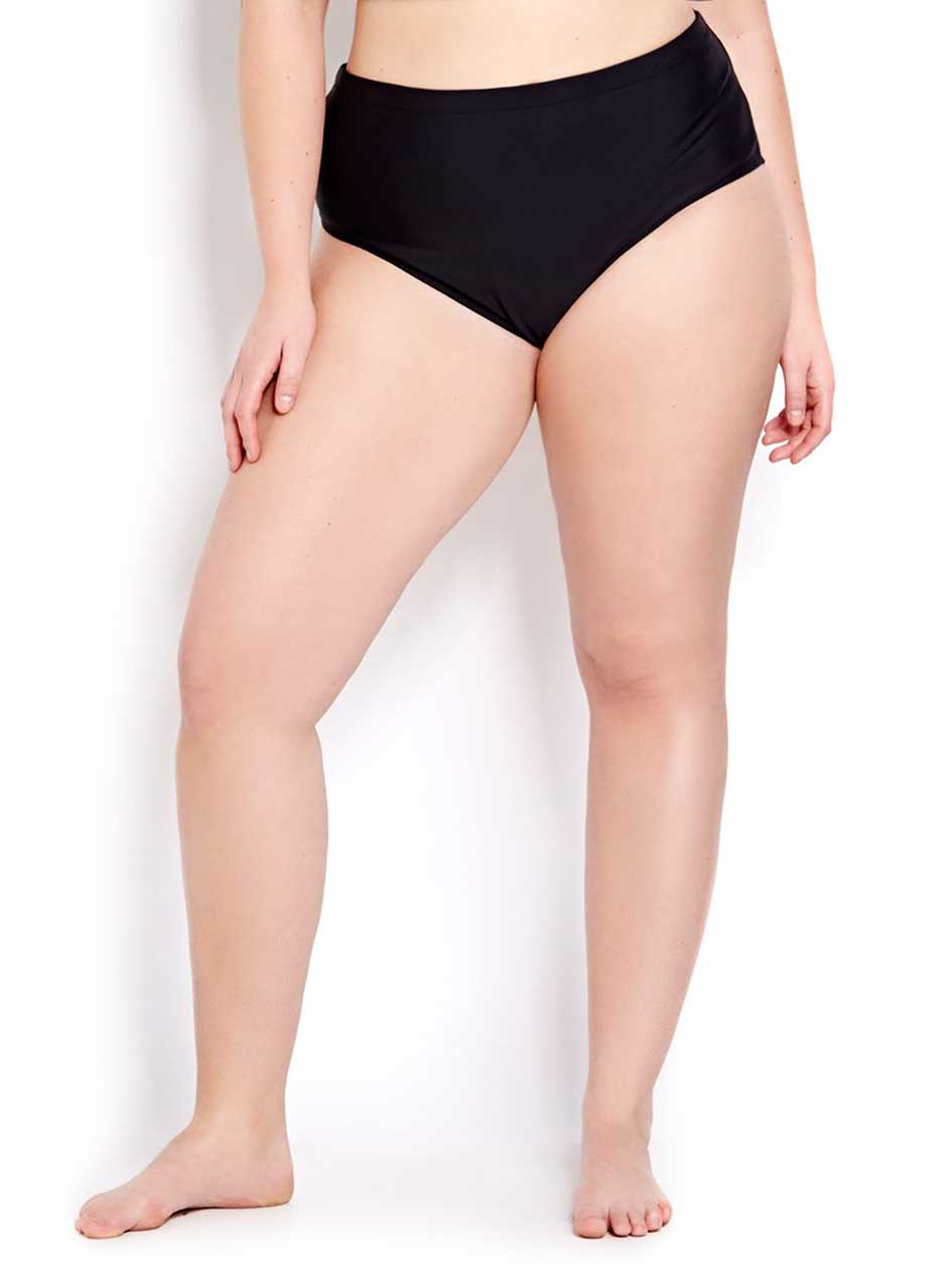 Cactus Mix and Match Solid Swim Bottom.Black.X