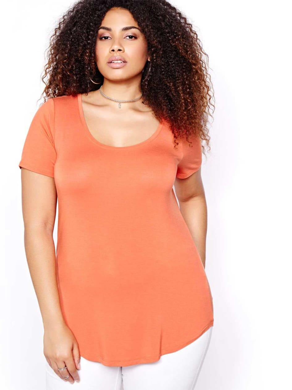 Michel Studio Solid Modern T-shirt with Scoop Neck