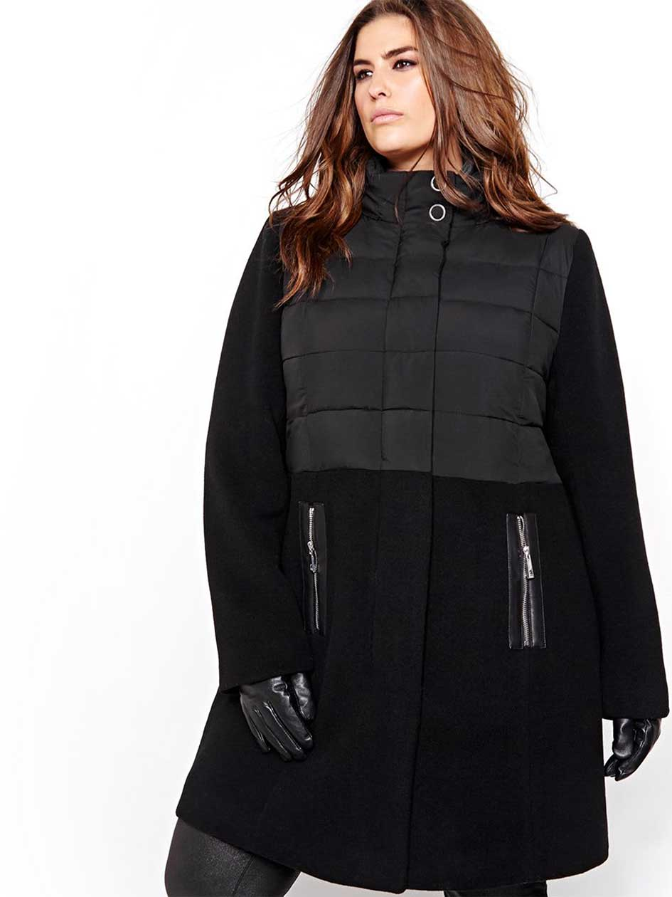Michel Studio Hybrid Puffer and Wool Jacket.