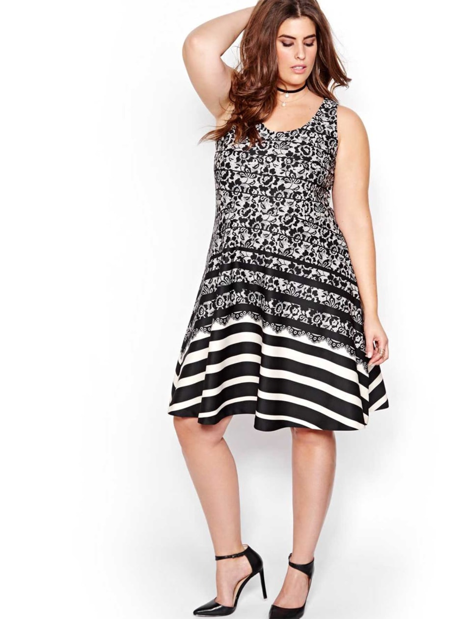 Michel Studio Scuba Lace Print Dress