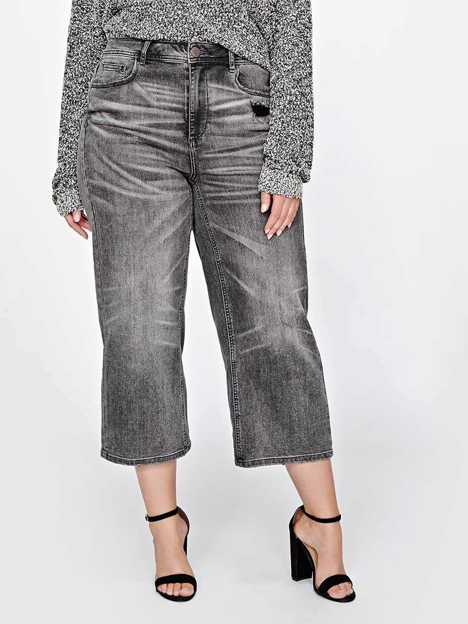 L&L High Rise Cropped Wide Leg Denim