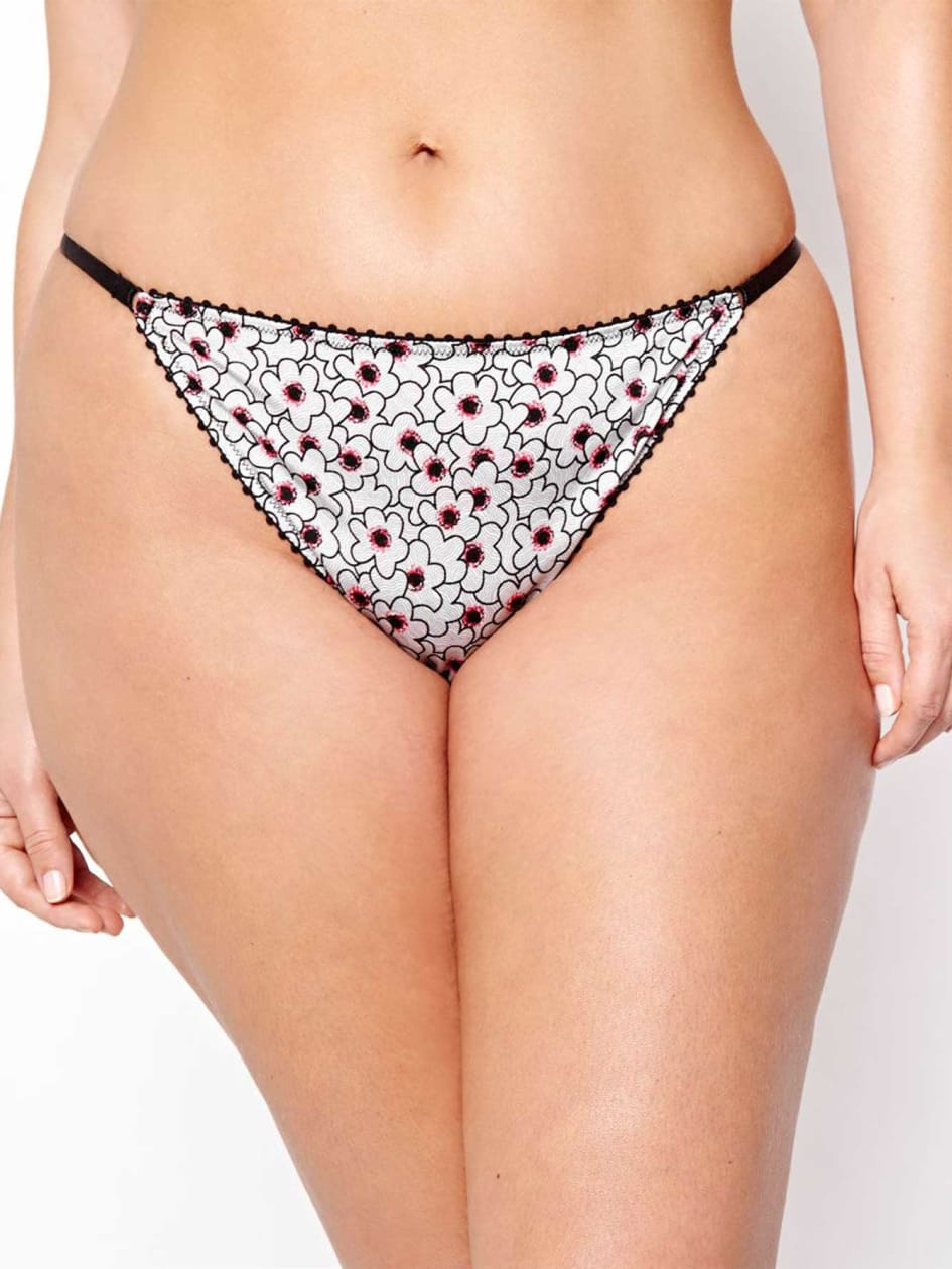 Thong with Floral Print and Mesh - Déesse Collection
