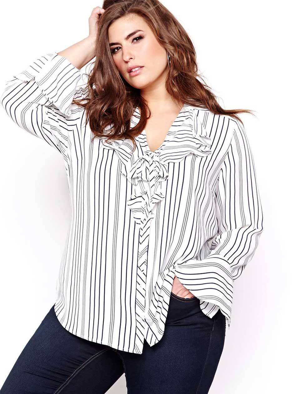 Michel Studio Striped Blouse with Bell Sleeves and Frills