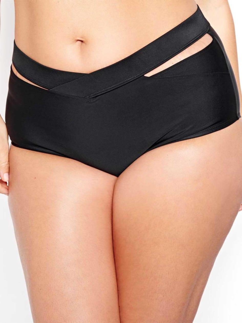Cactus Bikini Bottom with Criss Cross Detail.black.X