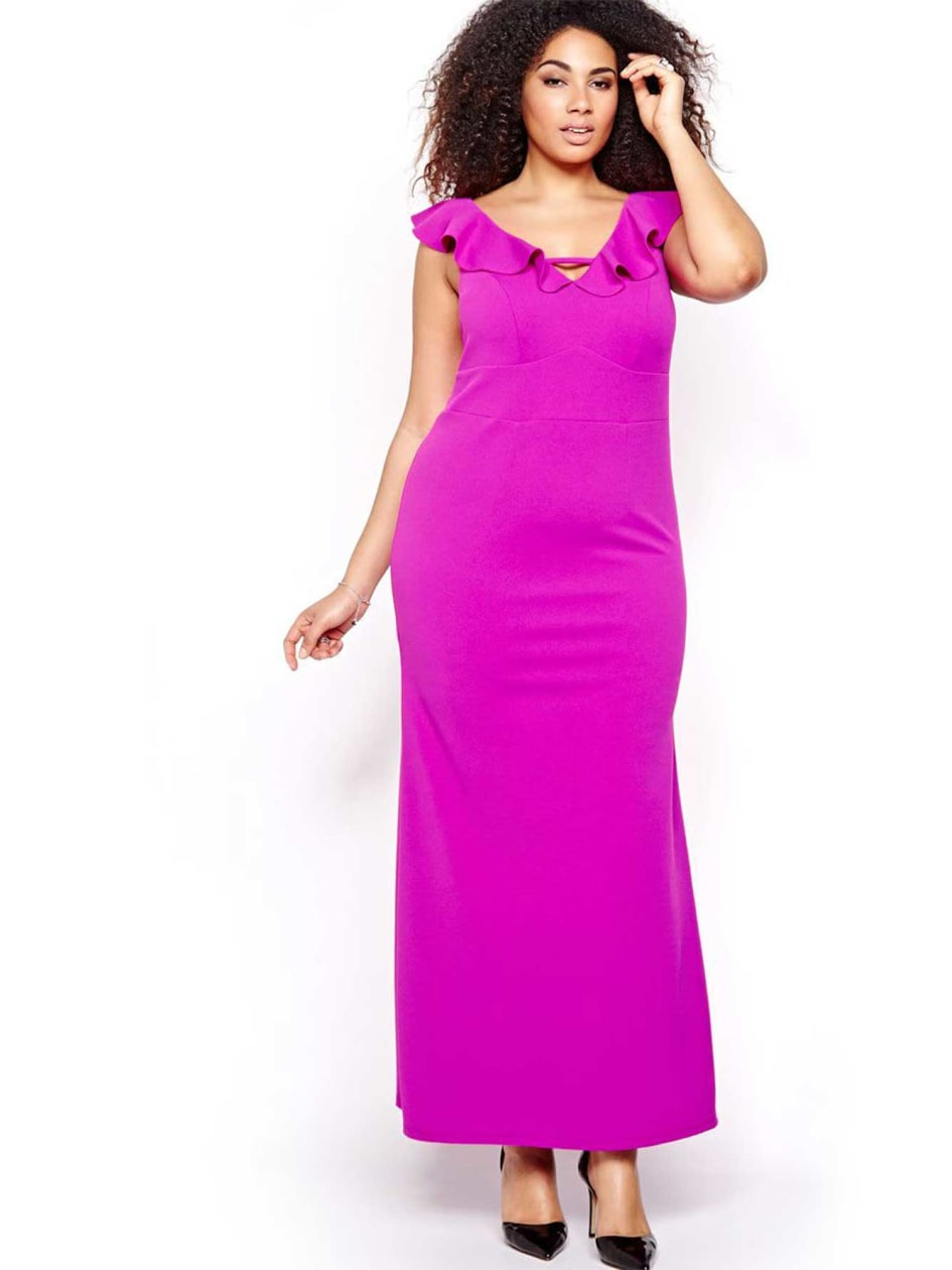 ABS V Neck Maxi Dress with Flutter Sleeves