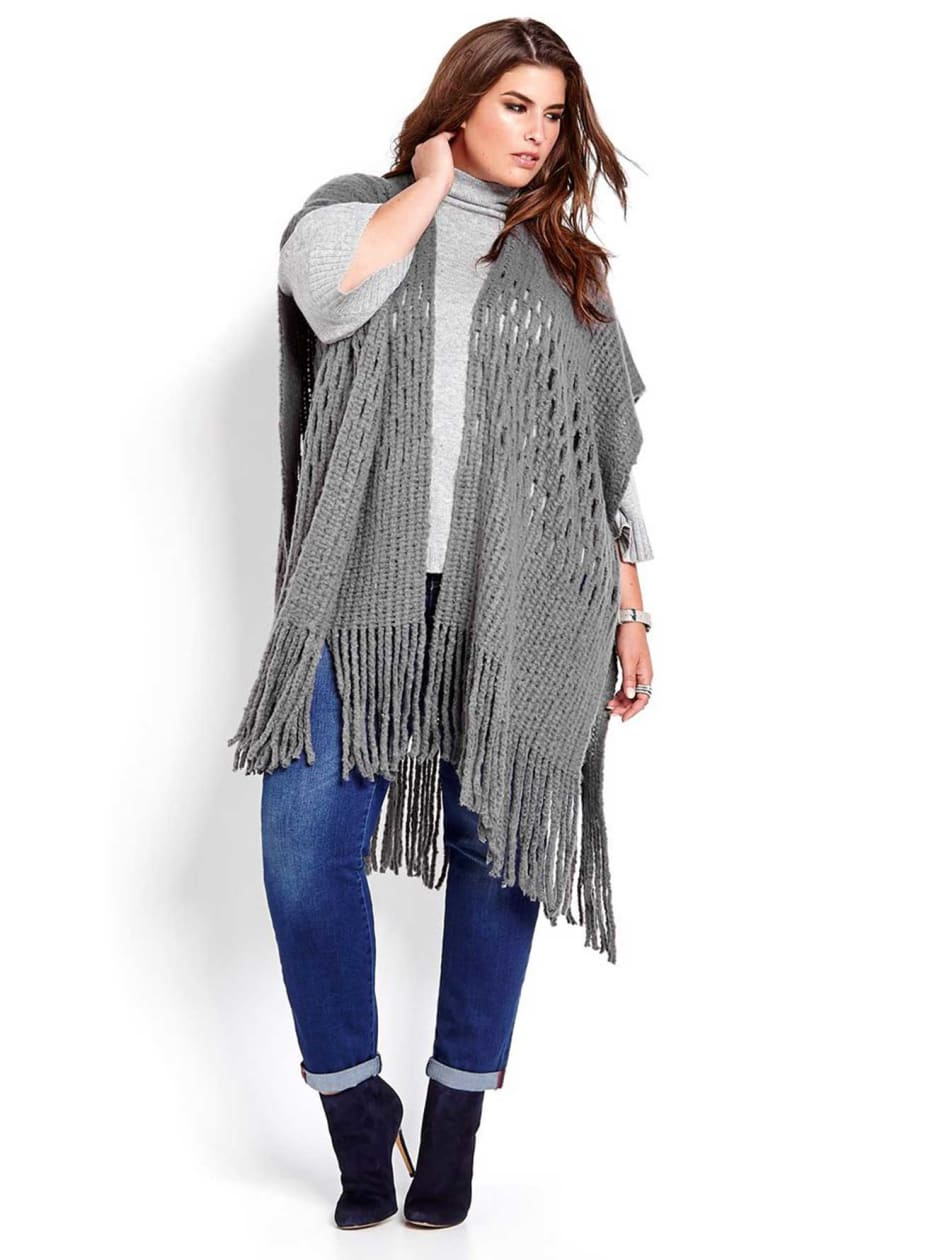 Knitted Cape with Long Fringes