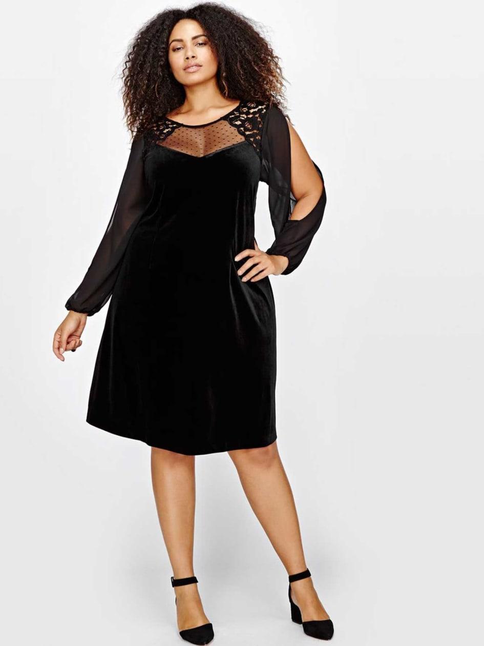 Michel Studio Velvet Dress with Chiffon & Lace