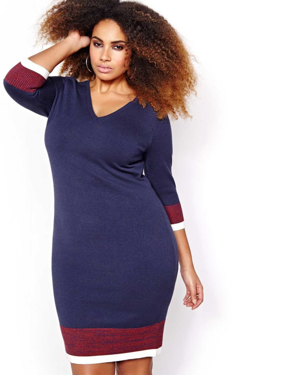 L&L Color Block Sweater Dress